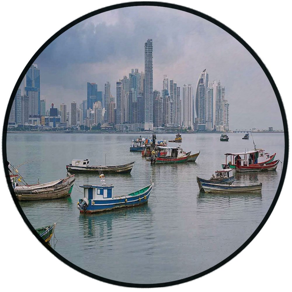 Printing Round Rug,Landscape,Anchored Fishing Boats Skyscrapers Panama Cityscape Pacific Coast Central America Mat Non-Slip Soft Entrance Mat Door Floor Rug Area Rug For Chair Living Room,Multicolor
