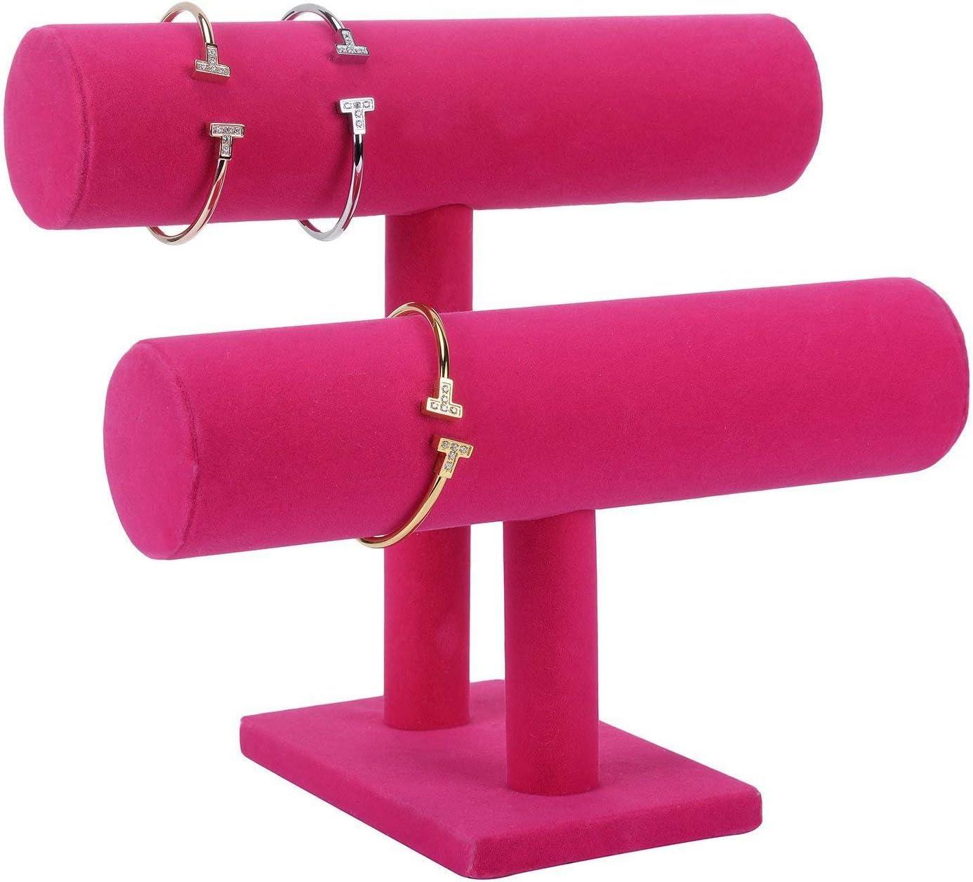 SODIAL Support de Couvert a 2 Niveaux de Collier et de Bijoux et de Bracelet jonc Presentoir daffichage pour Organisation de la Maison,Rouge Rose