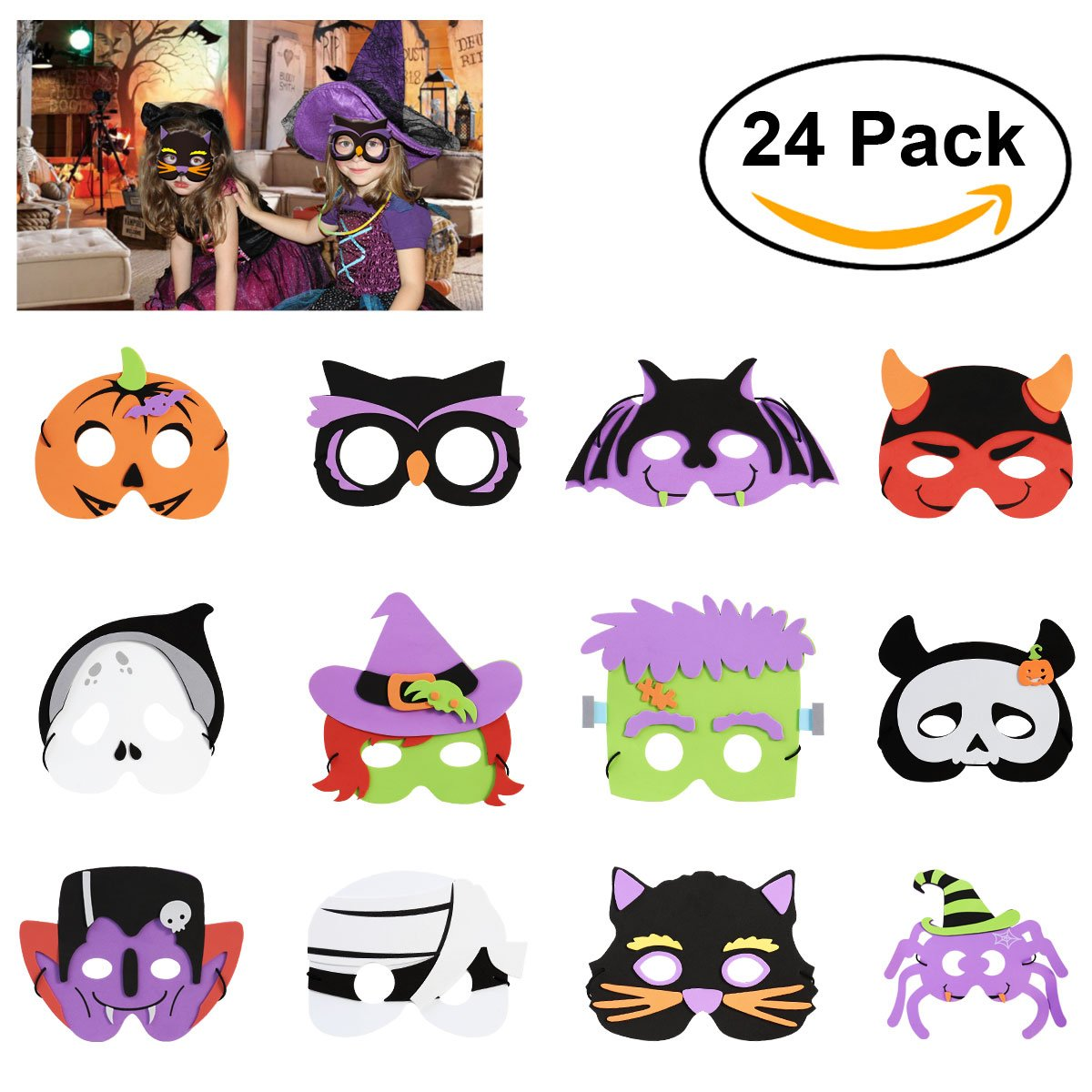 Halloween Foam Party Masks for Kids, Dress Up Costume Mask with Elastic Band, 24 Sets in 2 Packs