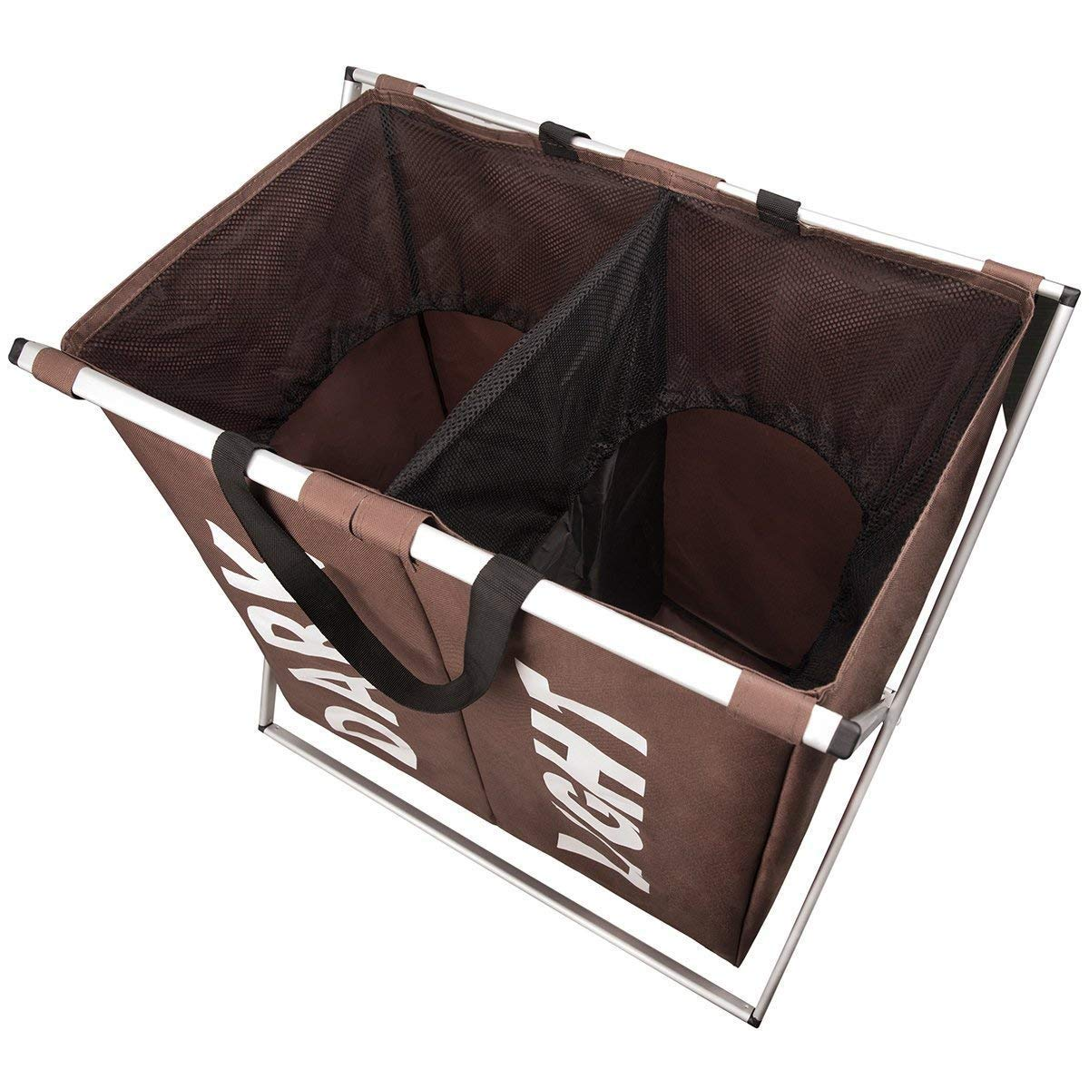 WISHPOOL Large 2 Section Laundry Hamper Basket with X-Frame Dirty Clothes Sorter Basket with Handle for Bathroom Bedroom Home(Coffee)