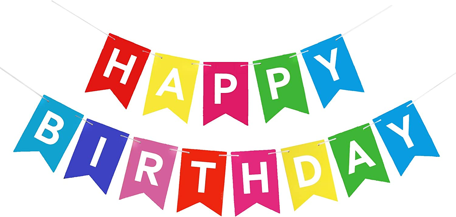 Colorful Happy Birthday Banner with White Letters, Rainbow Swallowtail Design Hanging Signs Party Decorations