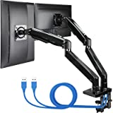 "ErGear 22-35"" Premium Dual Monitor Stand Mount w/USB, Ultrawide Computer Screen Desk Mount w/Full Motion Gas Spring Arm, Heig"