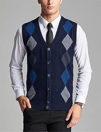 Cheryl Bull Trendy Men's V Neck Wool Cashmere Sleeveless Button ...