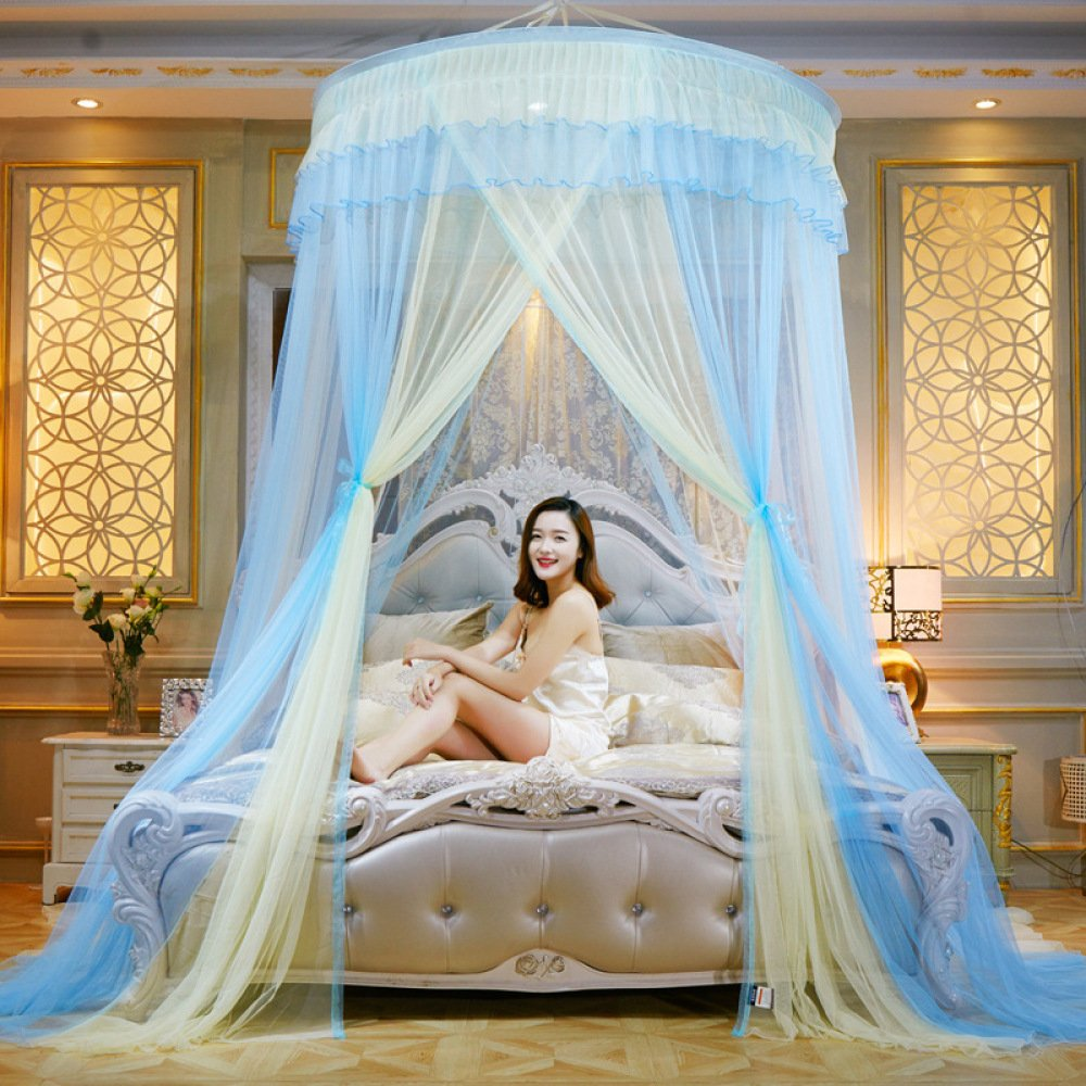 LUSTAR® Princess Mosquito Net Bed Canopy For Children Fly Insect Protection Indoor Decorative Height 280cm Top Diameter 1.5m Two-color Match,Yellow