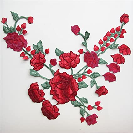 Parches Decorativos Bordados Con Diseno De Rosas Anchas Para Coser - Diseos-de-rosas
