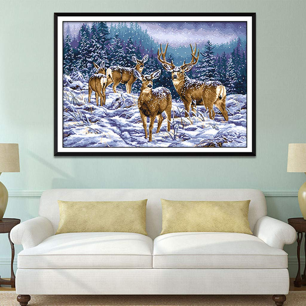 11CT Prettyia Cross Stitch Stamped Kits Pre-Printed Cross-Stitching Patterns for Beginner Kids Adults Embroidery DIY Crafts Needlepoint Starter Kits,Winter Deer