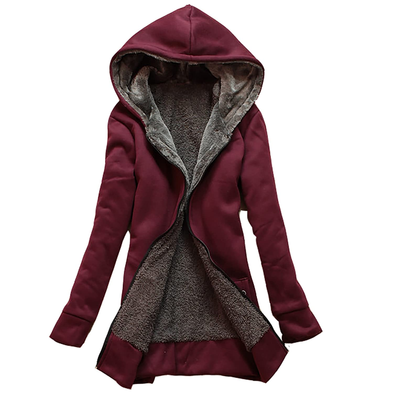 Damen Langarm Einfarbig Bekleidung Warme Weich Parka Mantel Blazer Mantel Damen Zipjacke Jacken Zip Hoodie STEPP HerbstWinter