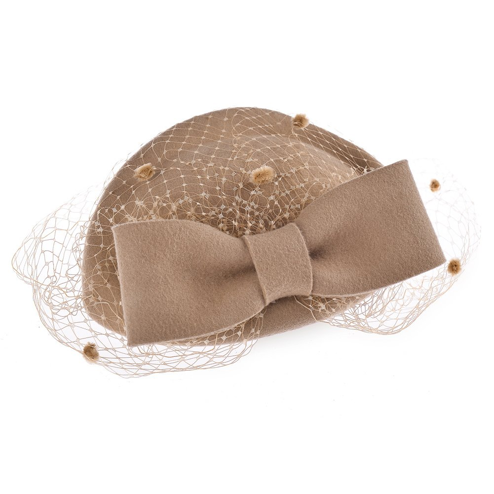 429e16dcca7 Vbiger Women s Fascinator Wool Felt Pillbox Hat Cocktail Party Wedding Bow  Veil (Camel)  Amazon.in  Clothing   Accessories