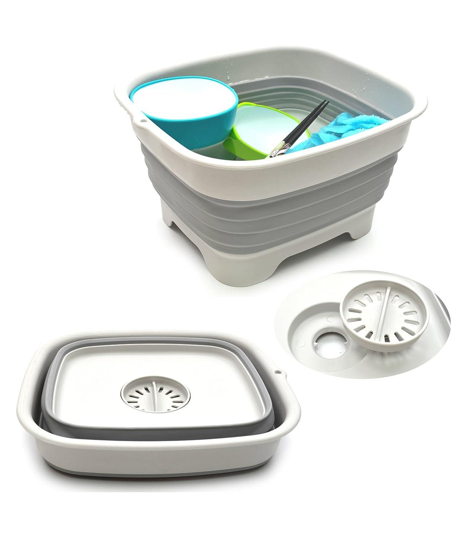 SAMMART 9.1L (2.4Gallon) Collapsible Dishpan with Draining Plug - Foldable Washing Basin - Portable Dish Washing Tub - Space Saving Kitchen Storage Tray (1, Grey)