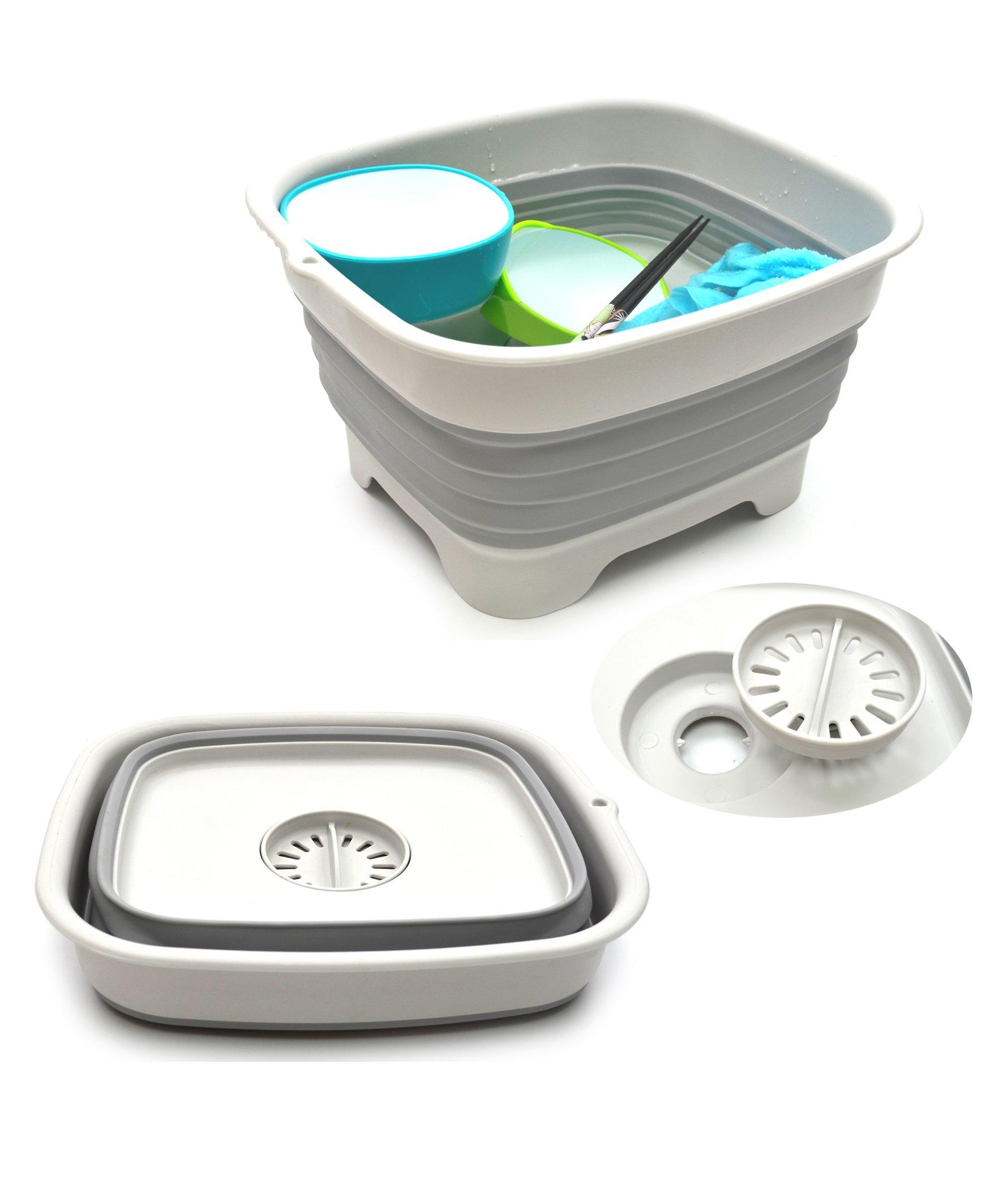 SAMMART 9.1L (2.4Gallon) Collapsible Dishpan with Draining Plug - Foldable Washing Basin - Portable Dish Washing Tub - Space Saving Kitchen Storage Tray (Grey)