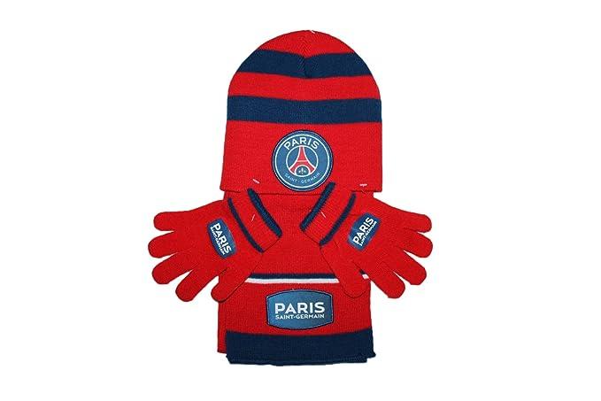 psg-bonnet gants écharpe paris saint germain-rouge et bleu-garçon ... bfc5c8532dd