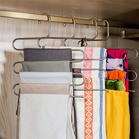 Incroyable Amazon.com: DOIOWN S Type Stainless Steel Clothes Pants Hangers Closet  Storage Organizer For Pants Jeans Scarf Hanging (14.17 X 14.96ins)  (1 Piece): Home U0026 ...
