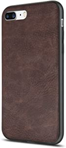 iPhone 7 Plus Case Salawat iPhone 8 Plus Case Shockproof Phone Case with Soft PU Leather Bumper Hard PC Hybrid Protection for Apple iPhone 7/8 Plus 5.5inch (Brown)