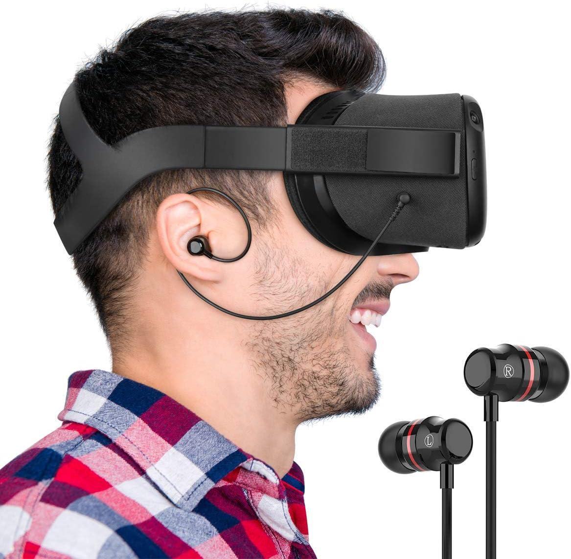 Noir, 1 Paire KIWI design Oculus Quest Ecouteurs Ecouteurs Stereo Intra-Auriculaires sur Mesure pour Oculus Quest VR Headset
