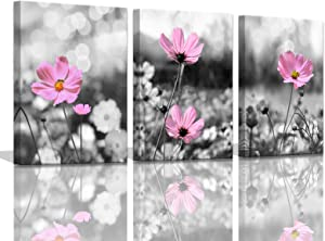 Pink Wall Decor Black and White Wall Art for Bedroom Black Background Wall Art Decor for Home Walls Pink Coreopsis Flowers Wall Art for Office 3 Pieces Canvas Art Wall Decor Framed 12x16inchx3pcs