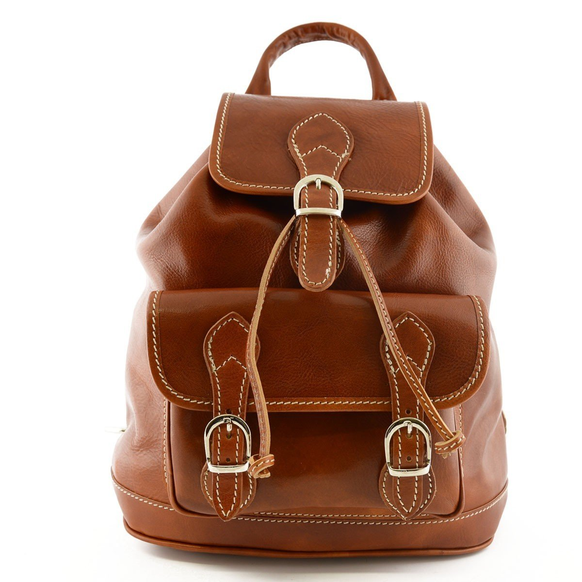 Made In Italy Genuine Leather Backpack, Front Pocket With Buckles Color Cognac - Backpack   B016295ITA