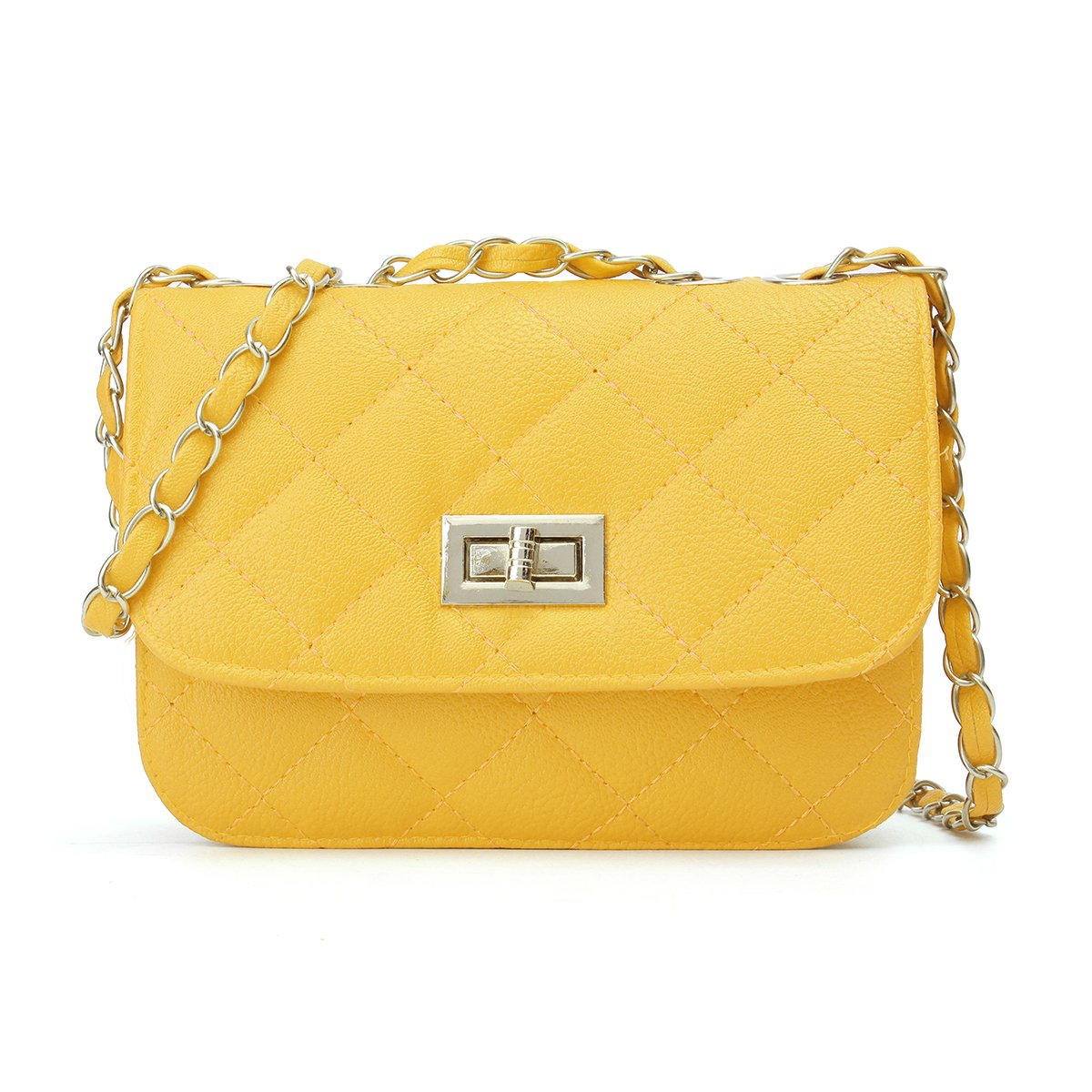 Mini Crossbody Bag, OURBAG PU Leather Quilted Cross Body Shoulder Clutch Purse Evening Handbag with Chain Yellow