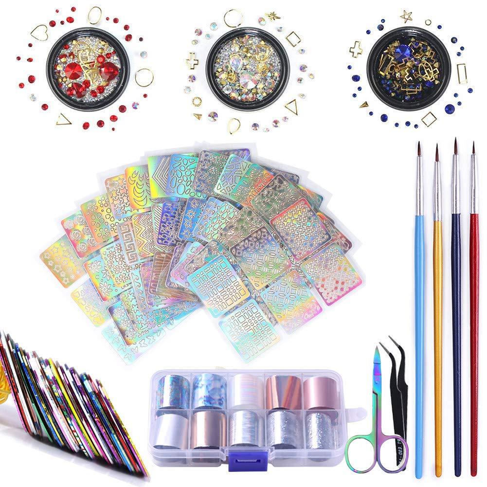 NICOLE DIARY DIY Nail Art Decoration Kit with Nail Line Striping Tape,Nail Rhinestones,Nail Brushes,Holographic Nail Foils Nail Art Equipment Set by NICOLE DIARY