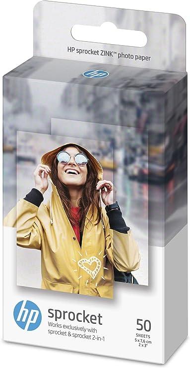 Hp Sprocket Zink 1De37A - Papel Fotográfico Adhesivo (50 Hojas, 5 ...
