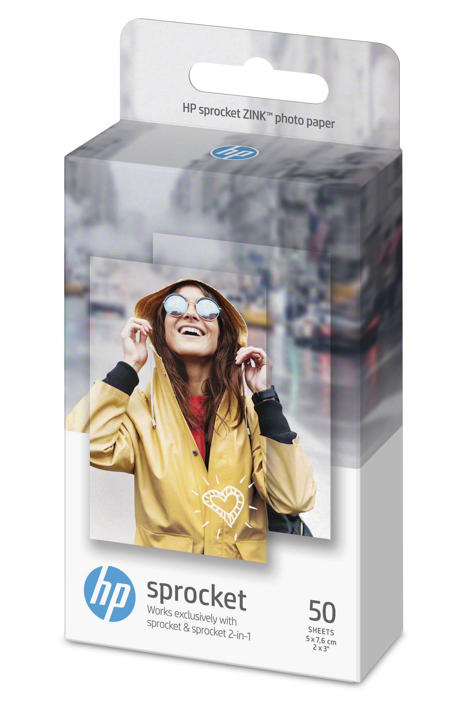 HP 1DE37A 5 x 7.6 cm/2 x 3 Inch Sprocket Photo Paper Sticky-Backed, 290 GSM, 50 Sheets