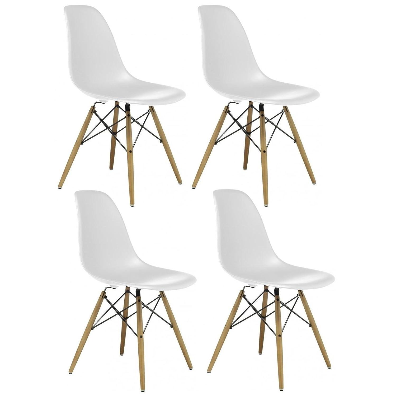 Charles U0026 Ray Inspiriert Eiffelturm Retro Design Wood Style Stuhl Für Büro  Lounge Küche U2013 Weiß (4): Amazon.de: Küche U0026 Haushalt