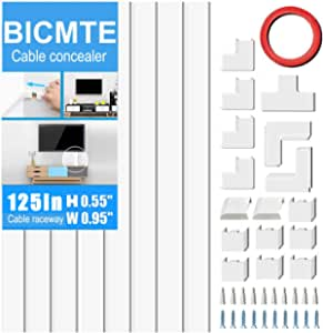 Cable Concealer On-Wall Cord Cover Raceway Kit - Cable Management System to Hide Cables, Wire Hider ,Cords, or Wires - Cord Organizer for Wall Mounted TVs (8X 15.7 * 0.95 * 0.55 Accessories Included)