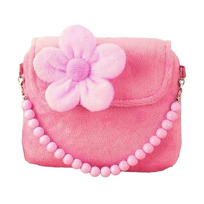 Amazon.com: Sasairy Girls Plush Floral Mini Princess Single Shoulder Bag Bead Chain Handbag: Shoes