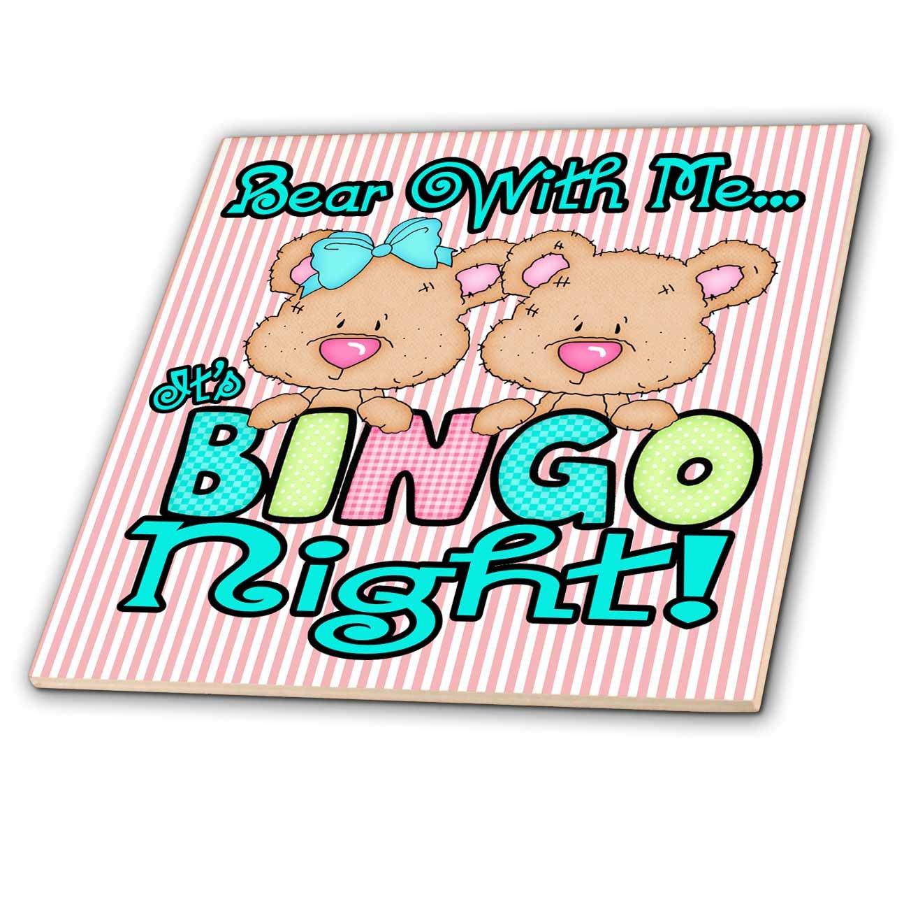3dRose ct_104460_2 Bear with Me its Bingo Night Cute Bingo Bear Cartoon-Ceramic Tile, 6-Inch by 3dRose