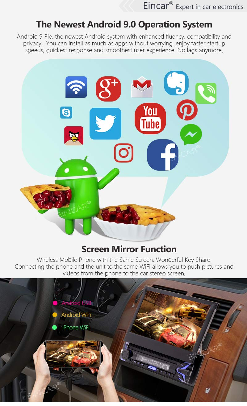 Quad Core Android 9.0 1GB RAM 16GB ROM 1DIN Car Stereo Bluetooth 7inch Muti-Touchscreen Detachable Single Din Radio Car MP5 Video Player FM AM RDS Turner Mirror Link WiFi USB SD with Backup Camera