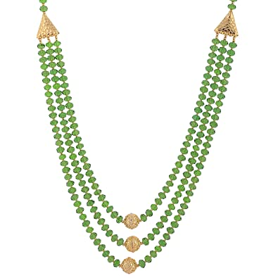 dp set kundan bead beads goldplated necklace buy karatcart green for women natasha