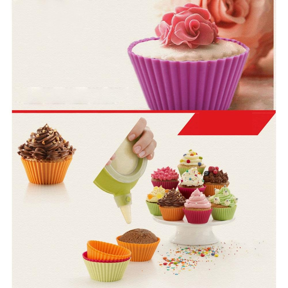 Snacks TM Ice Cream or Chocolate Shell-lined 12 Pack 4 Colors Silicone Baking Cups Sets niceEshop Frozen Treats Reusable /& Nonstick Muffin Cupcake Liners Round Backing Mold Truffle Cups For Gelatin