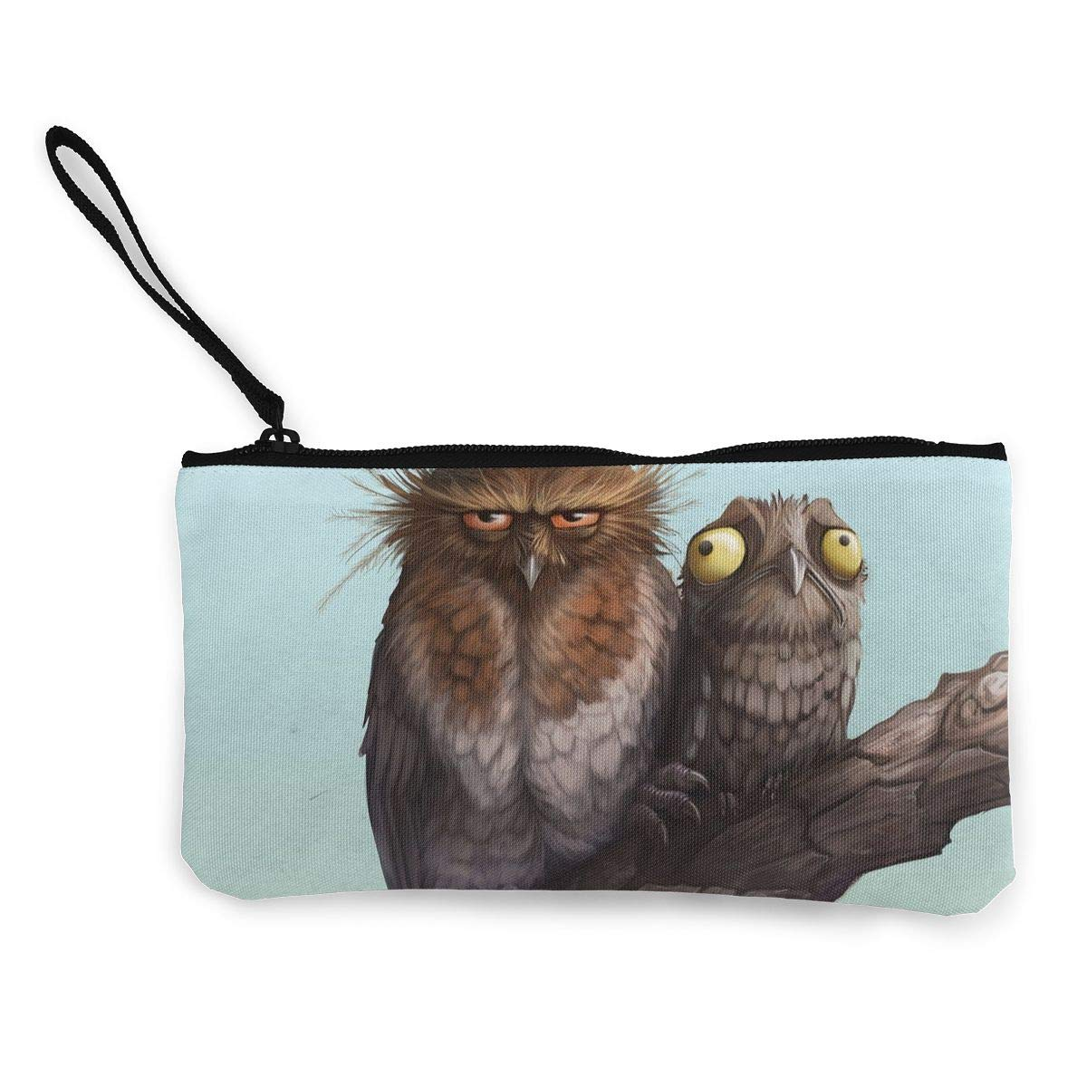 Coin Pouch Funny Whiskered Owl And Potoo Painting Canvas Coin Purse Cellphone Card Bag With Handle And Zipper