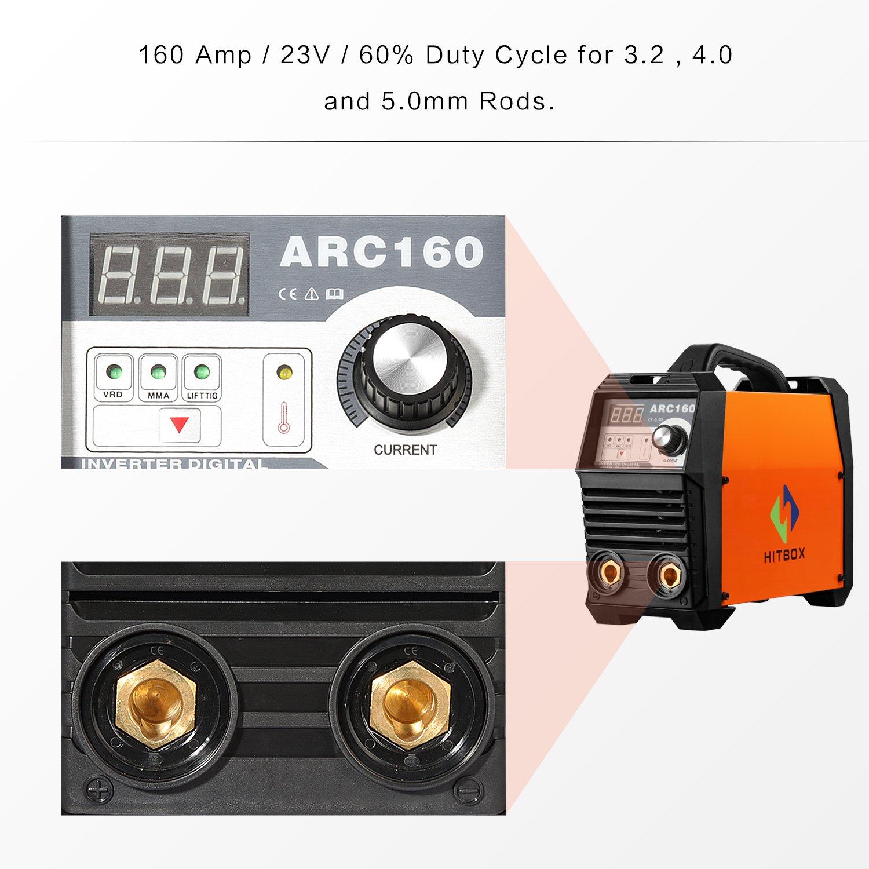 ARC soldador ARC160A máquina de soldadura por arco inversor digital soldador 220V DC máquina de soldar portátil TIG HITBOX: Amazon.es: Bricolaje y ...