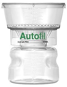 Autofil Sterile Disposable Vacuum Filter Units with 0.2um Sterilizing PES Membrane, 250mL, 12/CS