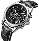 BUREI Men's Chronograph Wrist Watches Stopwatch with Black Dial Genuine Leather Strap Elegant Business Casual Style