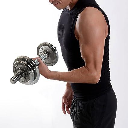 Sporteq Juego de mancuernas 20 kg Fuerza y Bodybuilding Levantamiento de pesas gimnasio Fitness ejercicio entrenamiento, Unisex, plata, talla única: ...