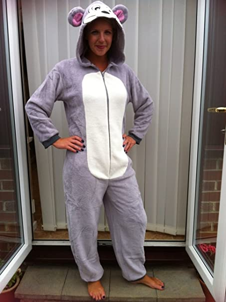 a93c8dedeb49 Snuggles TOM   JERRY TYPE GREY MOUSE ONESIE ADULT FANCY DRESS ...