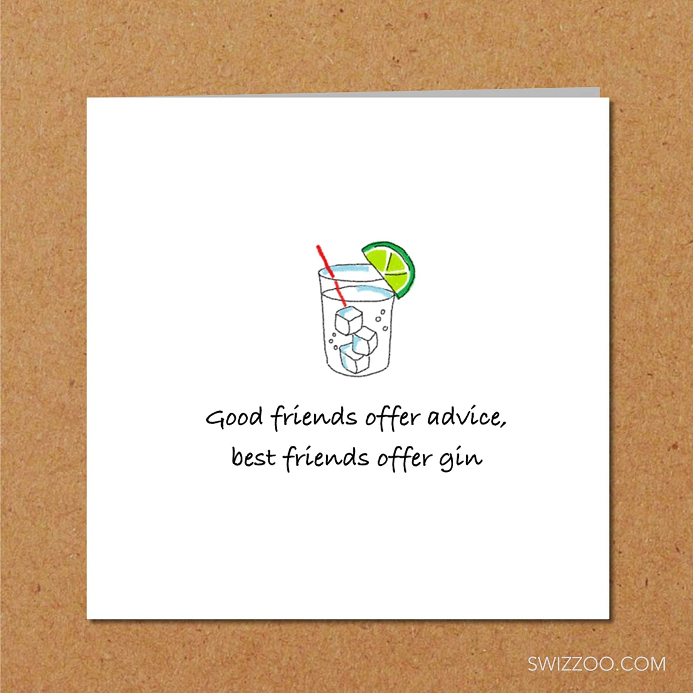 FRIENDSHIP & GIN CARD for wife, girlfriend, girl friend or