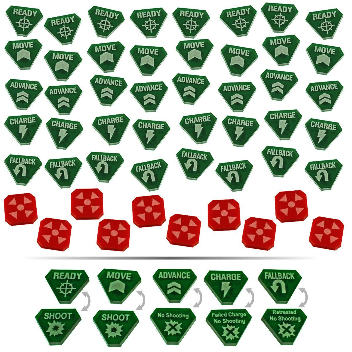 LITKO Combat Token Set Compatible with WH:KT, Translucent Green & Red (50)