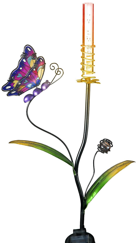 Transcontinental Group Schmetterling Gartenstecker mit solarbetriebenem LED-Licht mit Farbwechsel lila