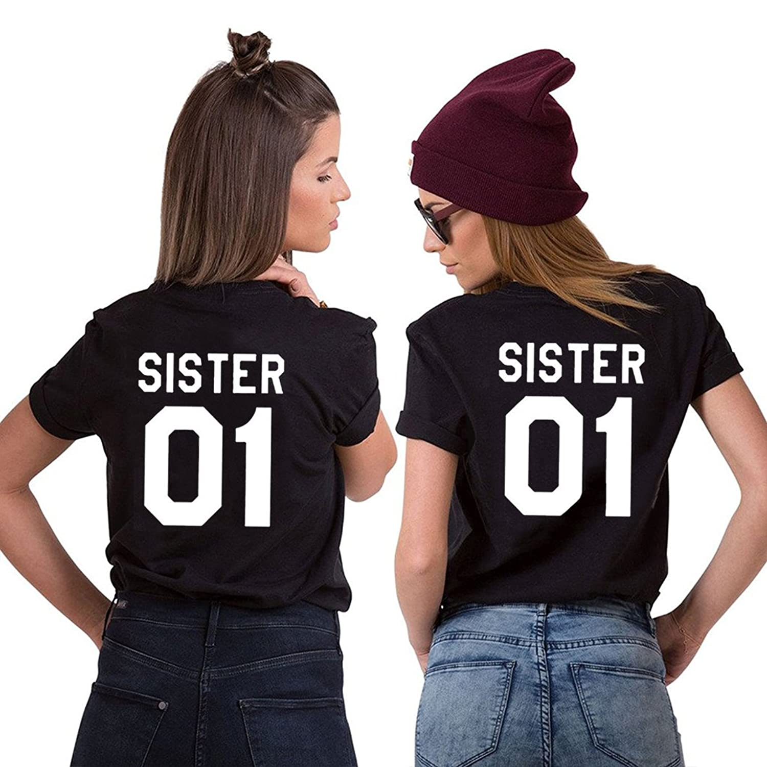 396330aa2 100% cotton T-shirts, no shrinkage, no fading and no allergy. Best choice  of gift for your sister/friend. Scope of delivery: 2 * tShirt. Material:  cotton