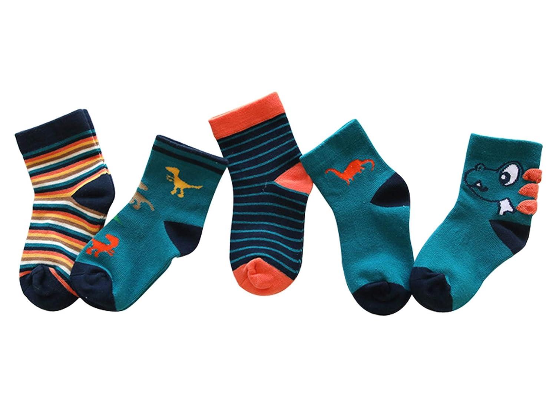 Kinder Baumwolle Socken 1-12 Jahre Jugen Mädchen Täglich Basic Cartoon Crew-Socken 5er Pack Casual Schule Atmungsaktiv