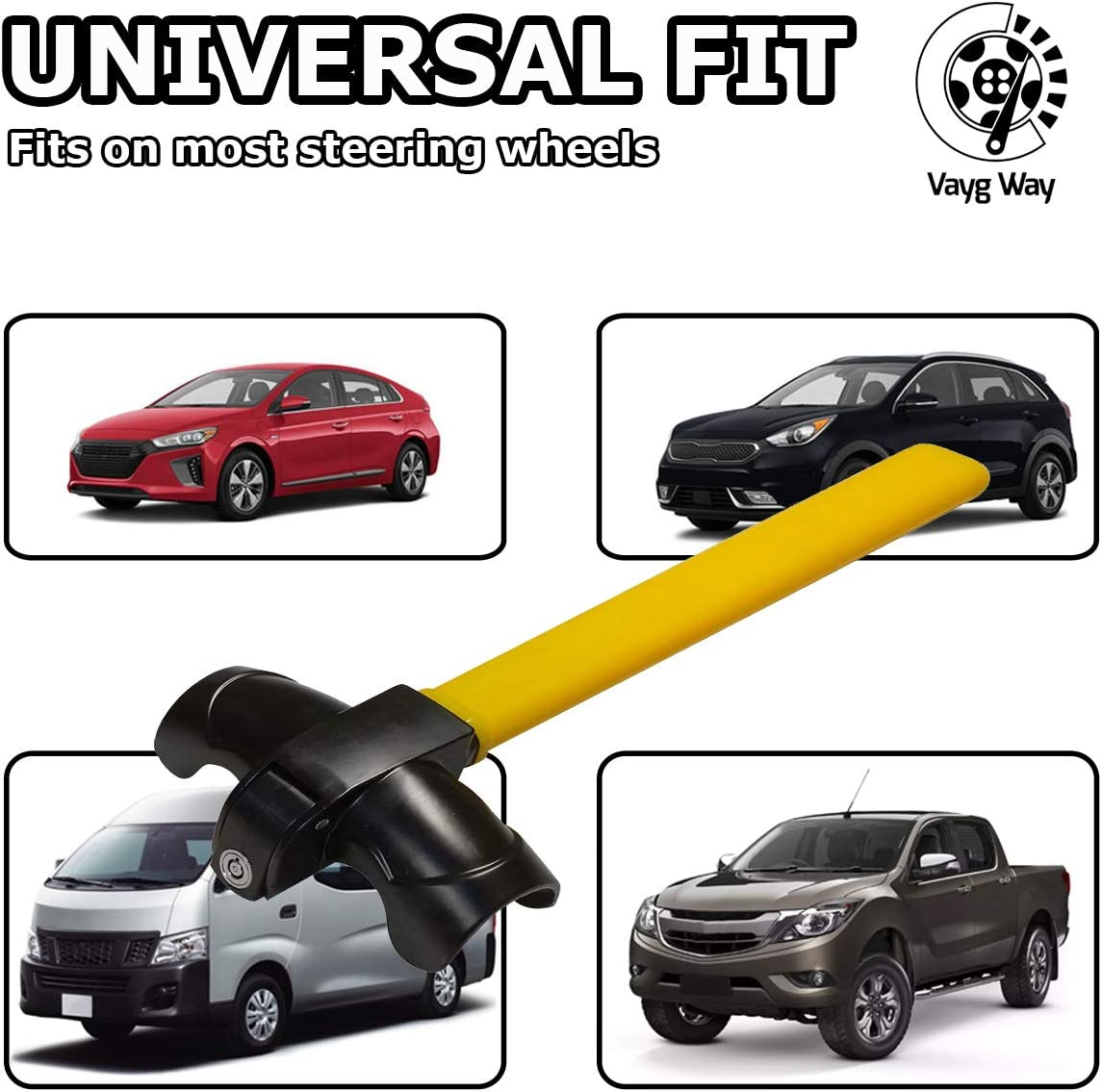 Car Anti-Theft Wheel Lock VaygWay Car Steering Wheel Lock Universal Car Truck Van SUV Auto Security Travel Locking Gear