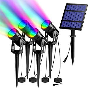 T-SUN 5W RGB Solar Spot Lights Outdoor, Solar Lights with 4 Pack Headlights, IP65 Waterproof Color Changing Spot Lights Outdoor Security Wall Lights for Garden, Yard, Driveway, Pool Area(RGB)
