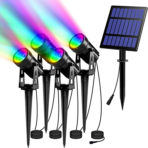 T-SUN 5W RGB Solar Spot Lights Outdoor, Solar Lights with 4 Pack Headlights, IP65 Waterproof Color Changing Spot Lights Outdoor Security Wall Lights for Garden, Yard, Driveway, Pool Area RGB