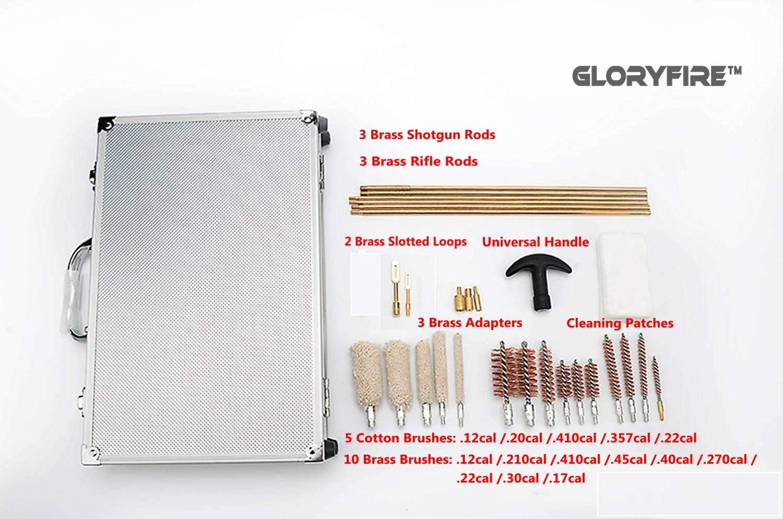 GLORYFIRE Universal Gun Cleaning Kit Hunting Rilfe Handgun Shot Gun Cleaning Kit for All Guns with Case Travel Size Portable Metal Brushes GF-5056 1