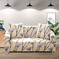 Geecol Printed Sofa Cover Stretch Fabric Couch Cover Sofa Slipcovers Protector (55''-70'' 2 Seater Sofa, Dandelion)