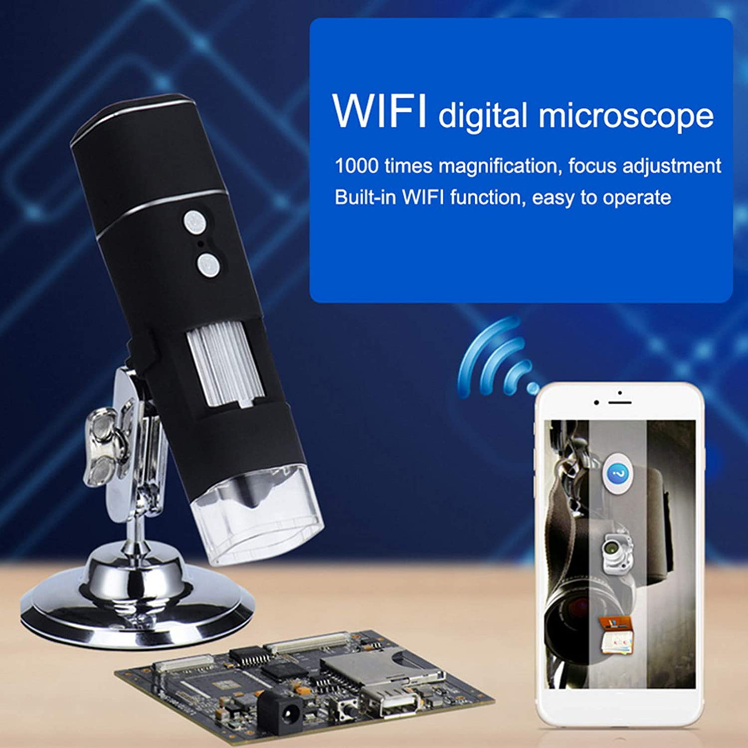 with Stand 1080P Wireless Smartphone Mobile with 8 Adjustable LED Lights GMZS 1000X WiFi Digital Microscope
