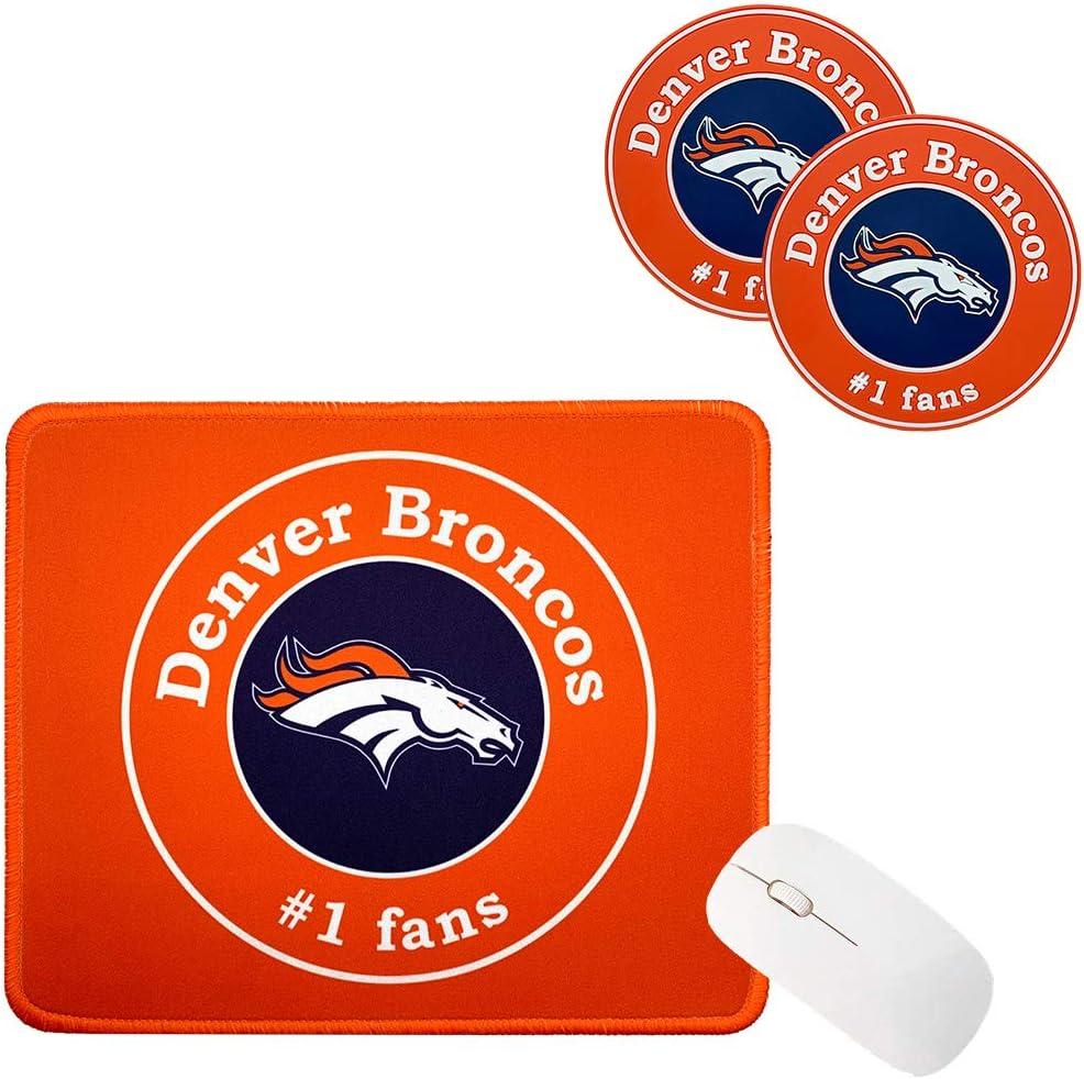3Pcs Fit Denver Broncos Tag Mouse Pad, Fit Denver Broncos Coasters,Placemat, Better Gift Set