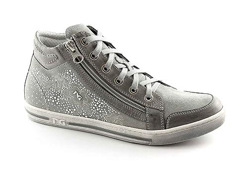 BLACK JARDINES 15111 grises zapatos mujeres mediados zapatillas deportivas zip brillo 36: Amazon.es: Zapatos y complementos